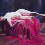 Lady reclining on Pink covers