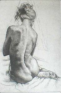 nude etching looking over the shoulder