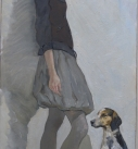 Original painting by Katya Gridneva title Girl with her Dog
