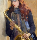 original painting by Kathy Gridneva title Saxophone